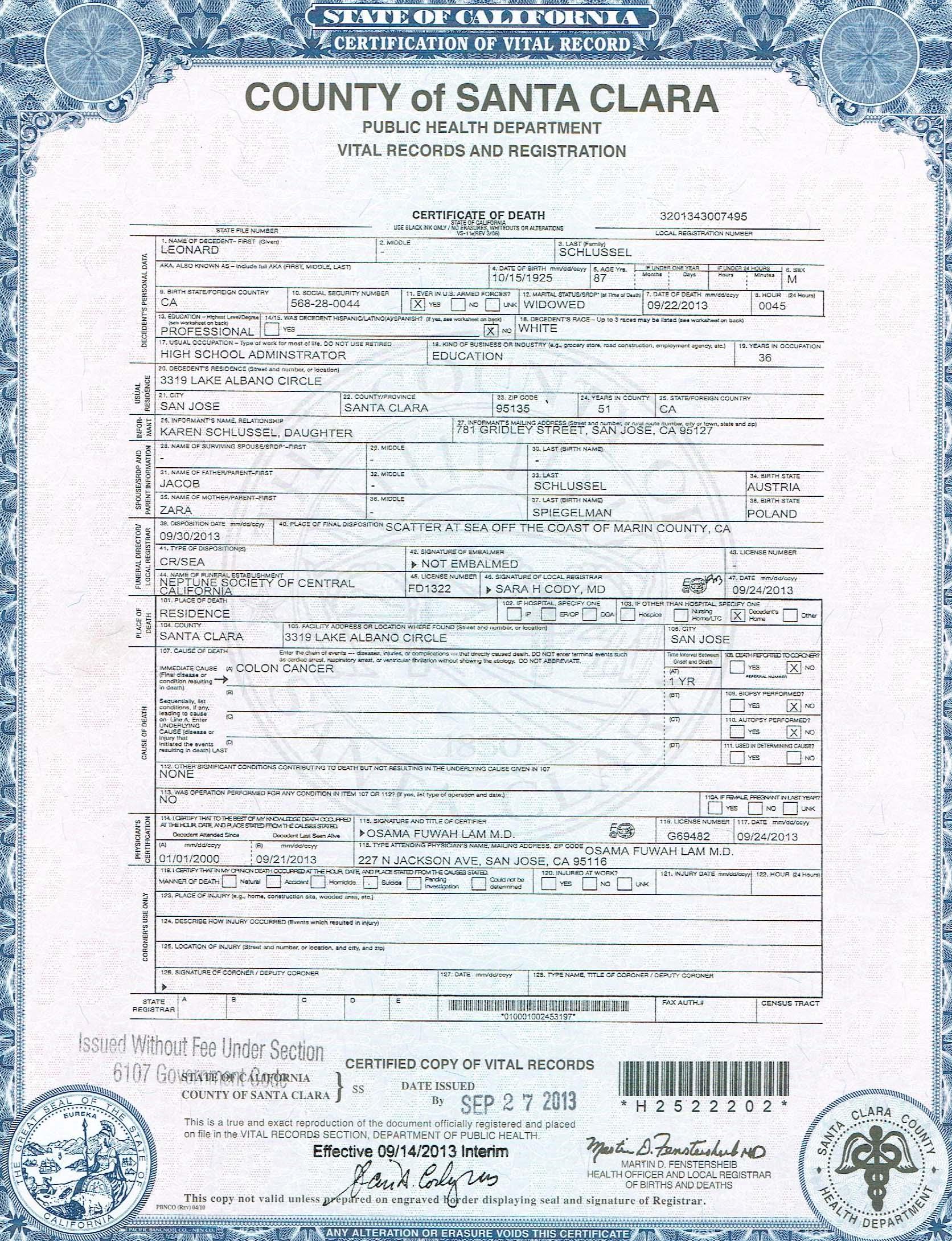 Schlussel family karens keys to genealogy click here to view leonards death certificate xflitez Gallery